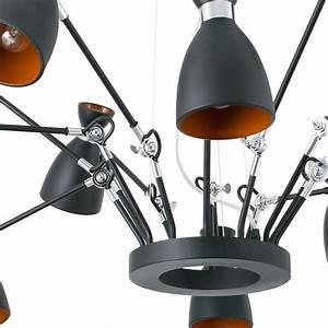 Suspension Noir Et Or : suspension r tro noir et or avec 12 lumi res orientables faro ~ Teatrodelosmanantiales.com Idées de Décoration