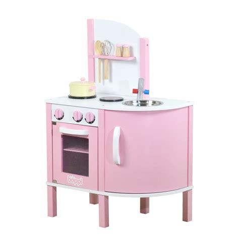Childrens Girls Pink Wooden Toy Kitchen With 5 Piece