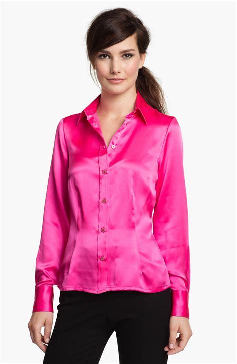 pink blouses santorelli silk blouse in pink pink lyst