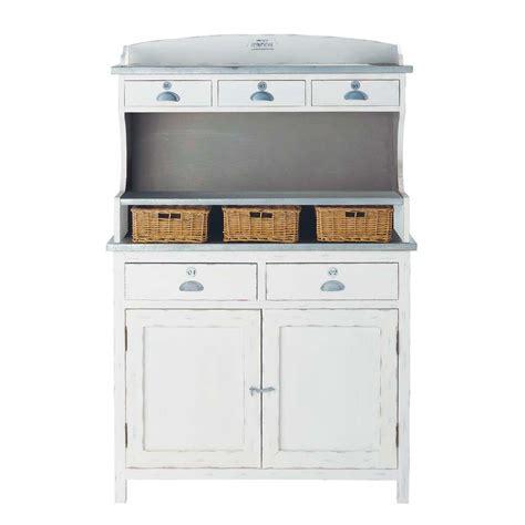 cuisine maisons du monde vaisselier en bois de paulownia blanc l 105 cm sorgues