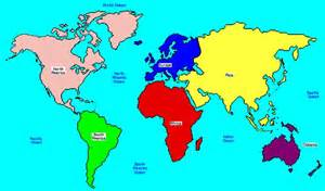 World Map Showing Continents and Oceans