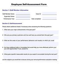 Employee Self Evaluation Form Template
