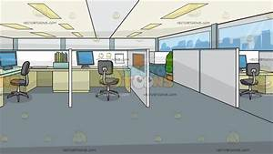 Office Cubicles Background Cartoon Clipart - Vector Toons
