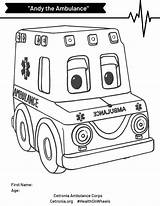 Ambulance Coloring Andy Contest Simple Child sketch template