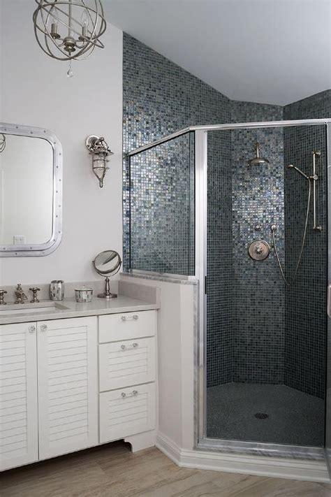 corner shower  blue  gray mosaic glass tiles