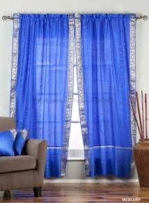enchanting blue rod pocket sheer sari curtain drape