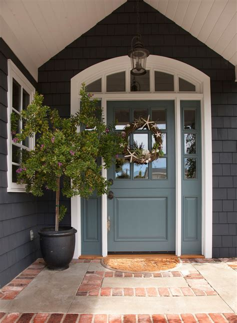 front door wreaths Entry Traditional with covered entry
