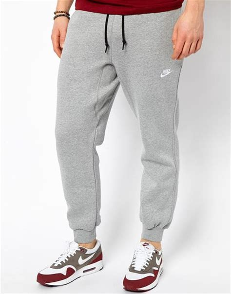 cuffed sweatpants for nike aw77 cuffed joggers in gray for grey lyst