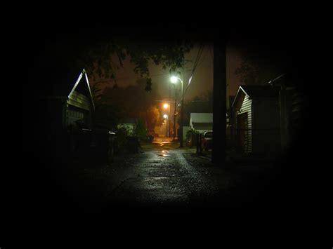 streets dark night street lights alley garages
