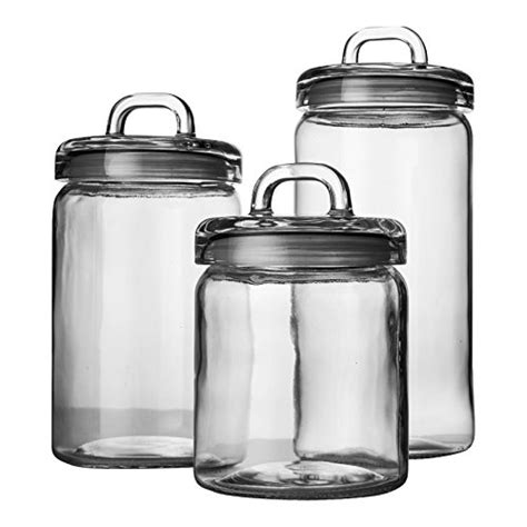 Clear Glass Kitchen Canister Sets by Set Of 3 Clear Glass Canister Jars With Tight Lids And