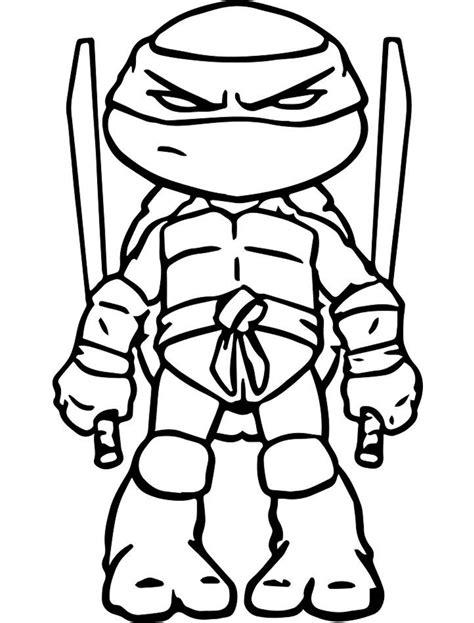 Dibujos de Pequeño Tortuga Ninja para Colorear Pintar e