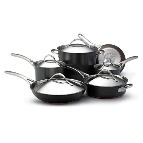 anolon nouvelle copper hard anodized nonstick  piece dark grey cookware set  shipping