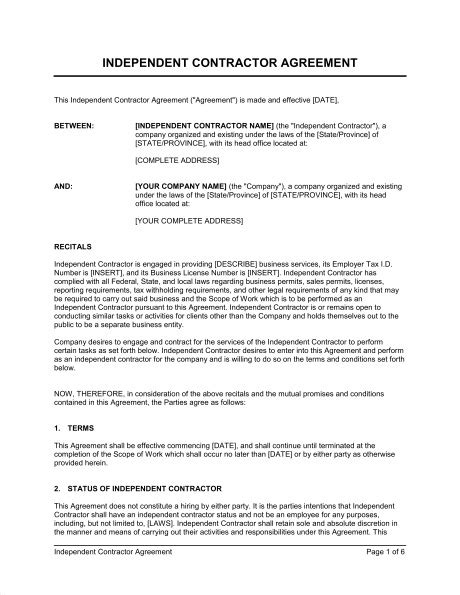 Independent Contractor Agreement Template 1099 Contractor Agreement Template Templates Resume