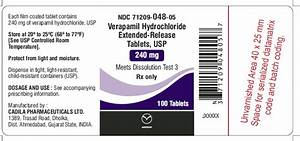 Verapamil Extended Release Tablets - FDA prescribing information, side effects and uses Verapamil Extended-release