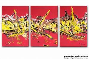 Tableau Plusieurs Panneaux : tableau triptyque abstrait rouge format paysage ~ Teatrodelosmanantiales.com Idées de Décoration