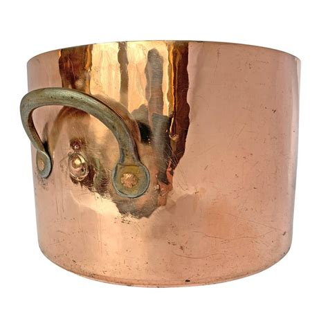century english hand hammered copper stock pot