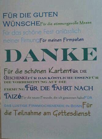 danksagung zur firmung mit verschiedenen typographien
