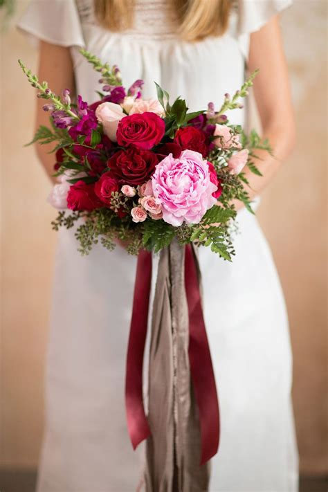 Bridal Bouquet Wedding Peony Pink And Red Trailing