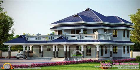 luxury sloped roof house kerala home design  floor plans