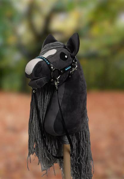 hobby horse graphite dark gray color  gray mane   black eco leather bridle horse