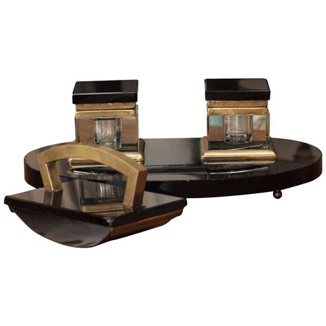 Decorative Desk Blotter Sets by Early 20th C Deco Black Marble And