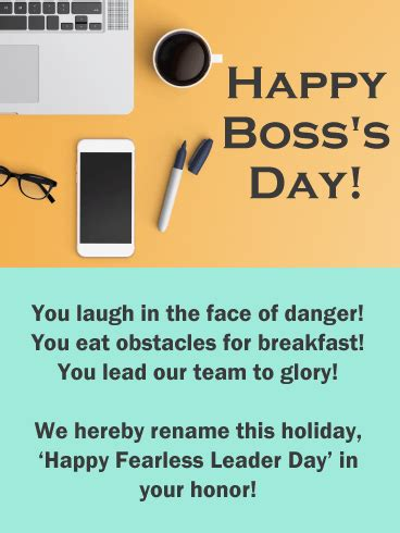 fearless leader happy bosss day card