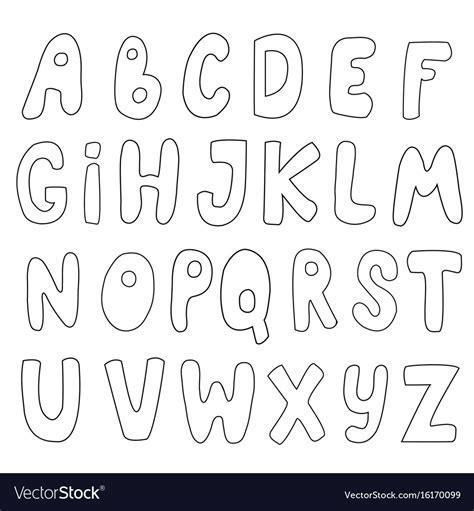 Alphabet Outline English Outline Alphabet Royalty Free Vector Image