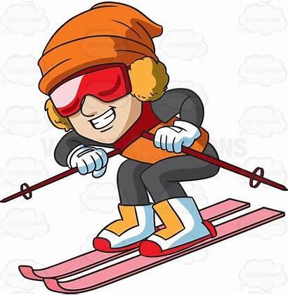 Cartoon Clipart Skier Slope Ski Down Skis