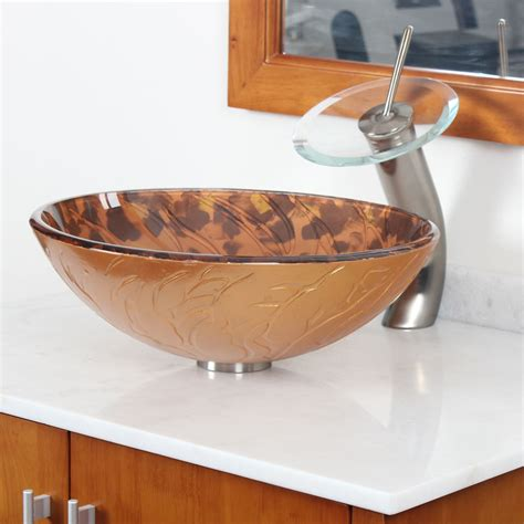 unique tempered glass vessel sink wyellow striped