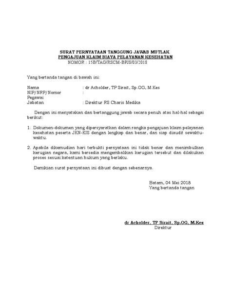 Surat Pernyataan Tanggung Jawab Mutlak Bpum