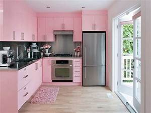 Bloombety modern kitchen color schemes with pink mat for Kitchen colors with white cabinets with pink wall art decor