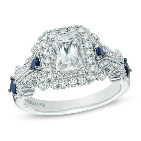vera wang love collection 1 1 8 ct t w emerald cut diamond and blue sapphire scroll ring in