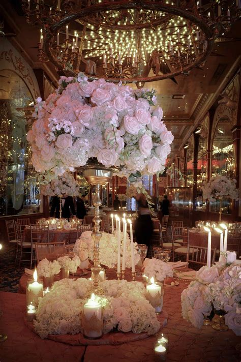 wedding center flowers on candelabra centerpiece