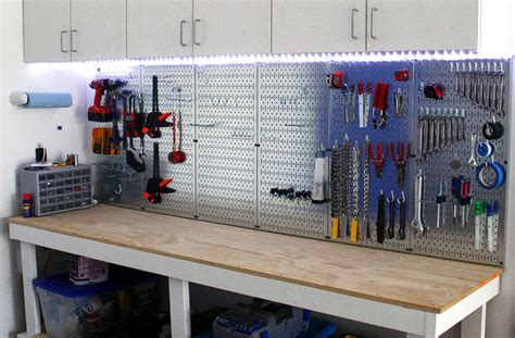 garage peg board garage pegboard with led light accents wall