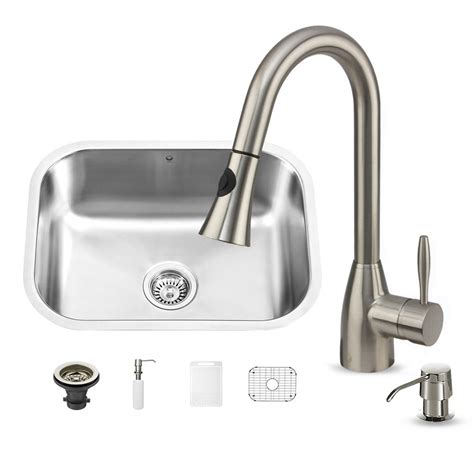 undermount kitchen sink with faucet holes vigo all in one undermount stainless steel 23 in 0 9539