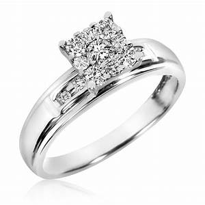 1 2 ct tw diamond trio matching wedding ring set 10k for 2 ct wedding ring set