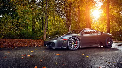 gorgeous gray ferrari  road   forest