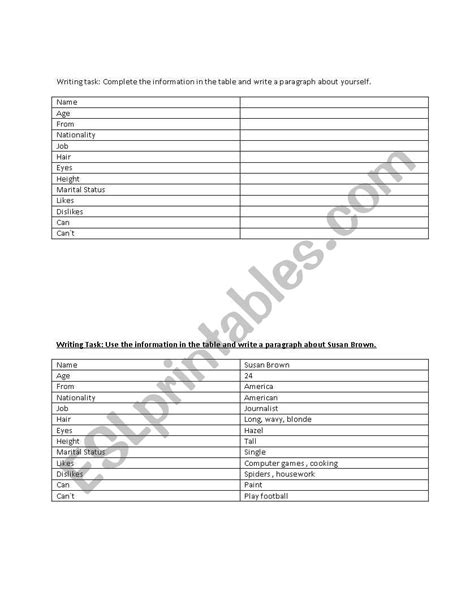 english worksheets descriptive writing