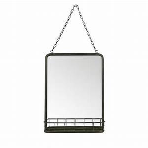 Miroir Metal Noir : miroir suspendu m tal noir avec rangement speak by drawer ~ Teatrodelosmanantiales.com Idées de Décoration
