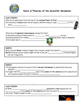 scientific revolution roots and new theories worksheet