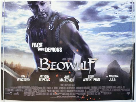 Beowulf movie poster 70x100cm 2007 ray winstone crispin glover angelina jolie director robert zemeckis frame on your wall! Beowulf - Original Cinema Movie Poster From pastposters.com British Quad Posters and US 1-Sheet ...