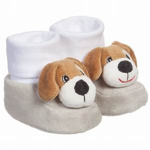 playshoes grey white baby bootees with dog rattle