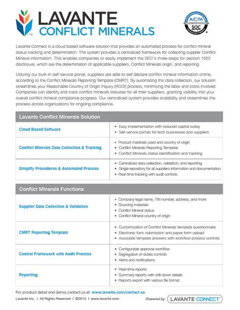 conflict minerals product overview lavante