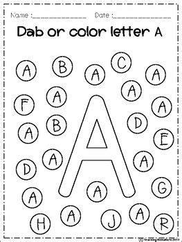 alphabet dab   preschool worksheets preschool