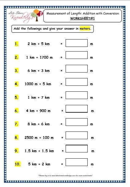 grade  maths worksheets  measurement  length