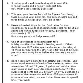 8th grade math word problems worksheets