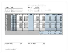 timesheet hours semi monthly timesheet horizontal orientation with