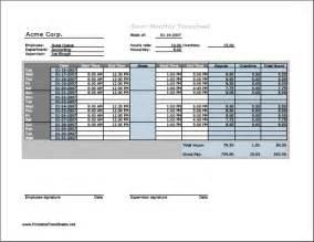timesheet hours semi monthly timesheet horizontal orientation with
