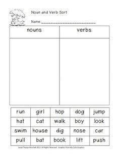 verb or noun sort kindergarten grammar lessons nouns verbs teaching grammar