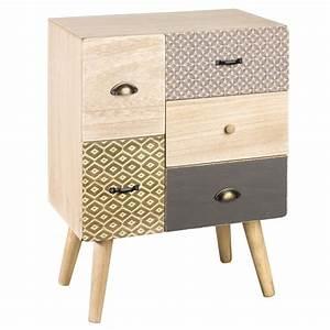 Meuble à Tiroir : petit meuble de rangement 5 tiroirs motifs maisons du ~ Melissatoandfro.com Idées de Décoration